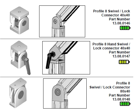 Series 8 flexible angle brackets