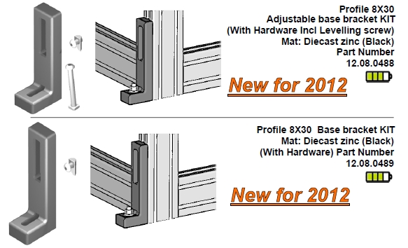 Series 8X30 floor brackets